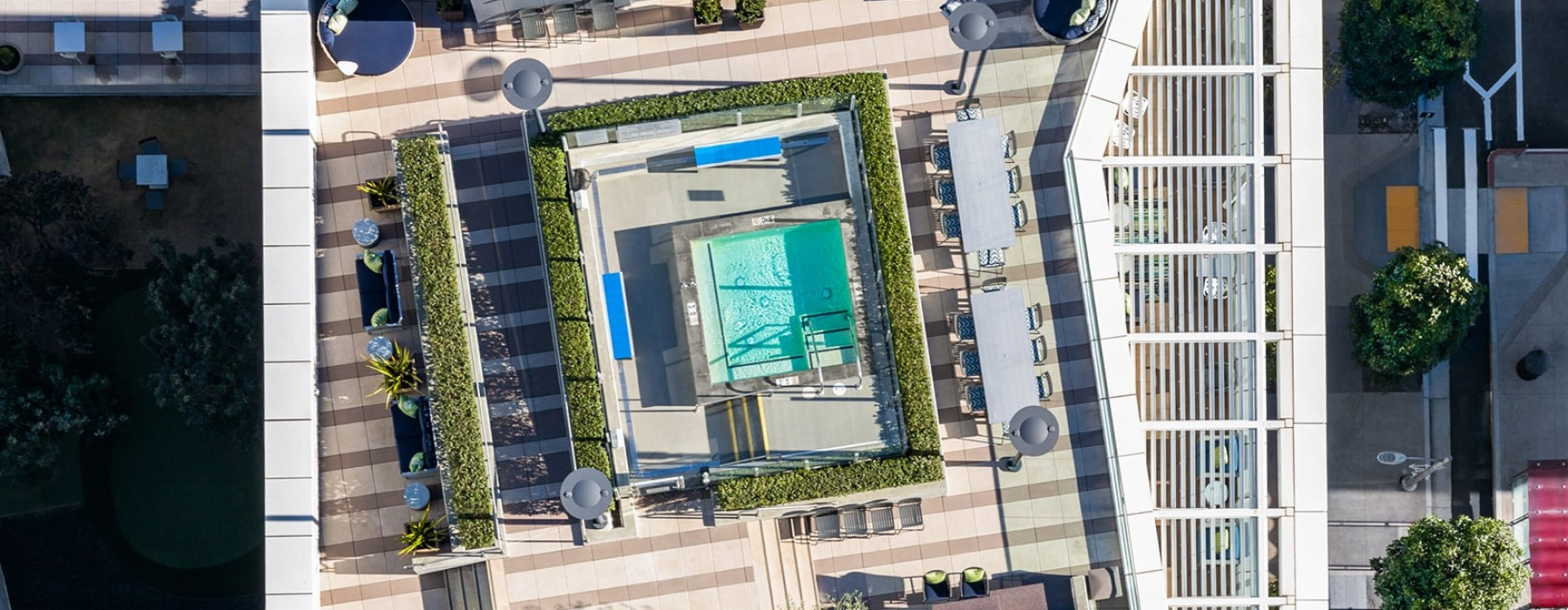 aerial view of property's pool